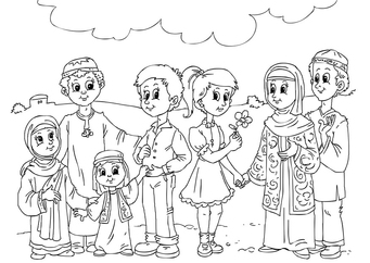 Coloring page Western children in Muslim culture