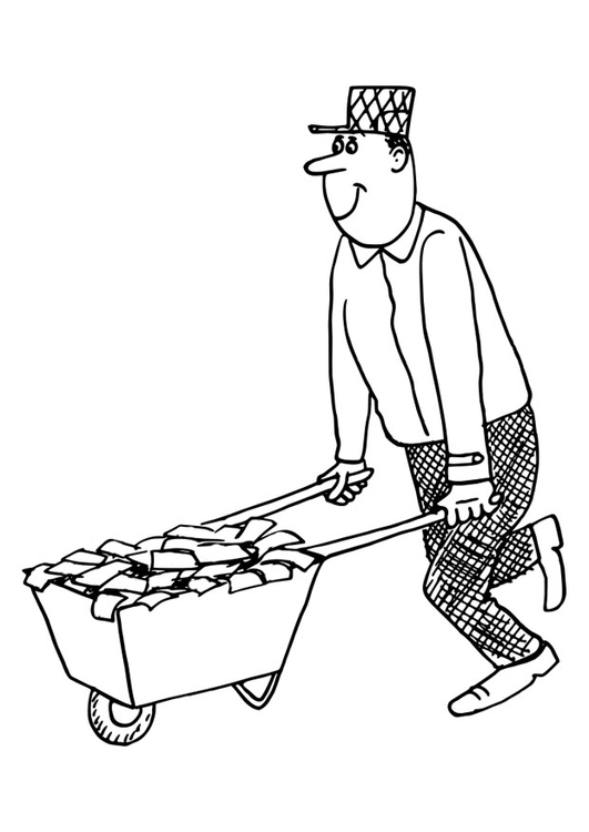 Coloring page wheelbarrow