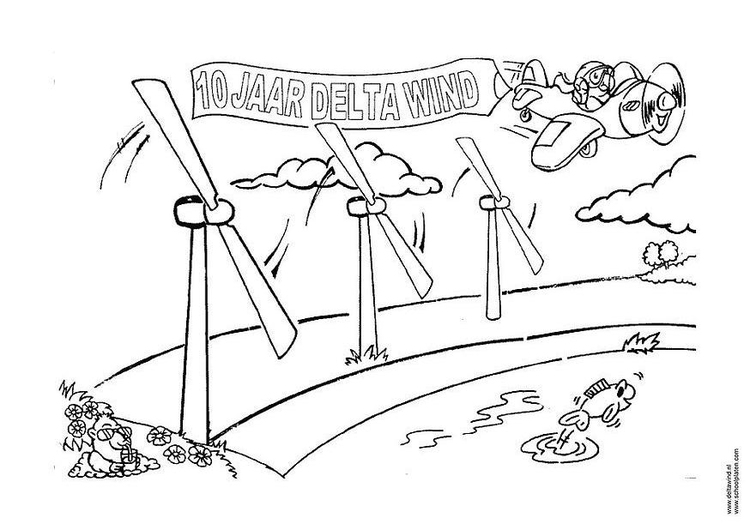 Coloring page wind energy - windmill