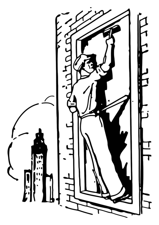 Coloring page window washer
