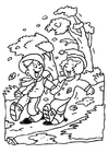 Coloring page windy day