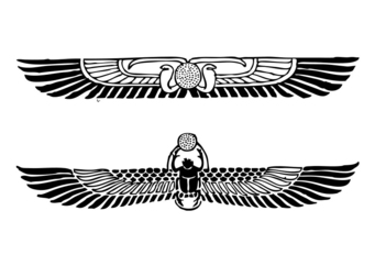 Coloring page Winged Disc and Scarab