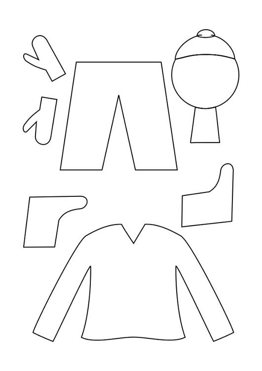 coloring page winter clothing
