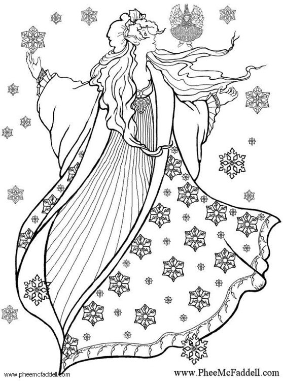 Coloring page winter fairy