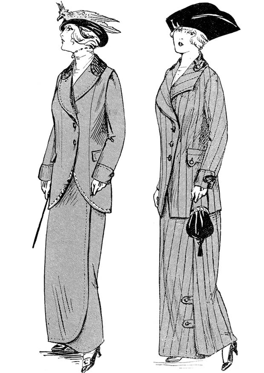 Coloring page Winter Fashion Paris 1914