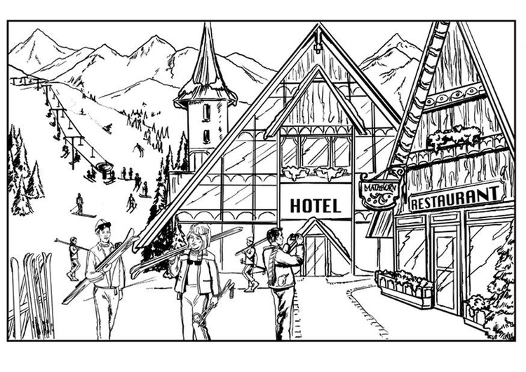 Coloring page winter - skiing