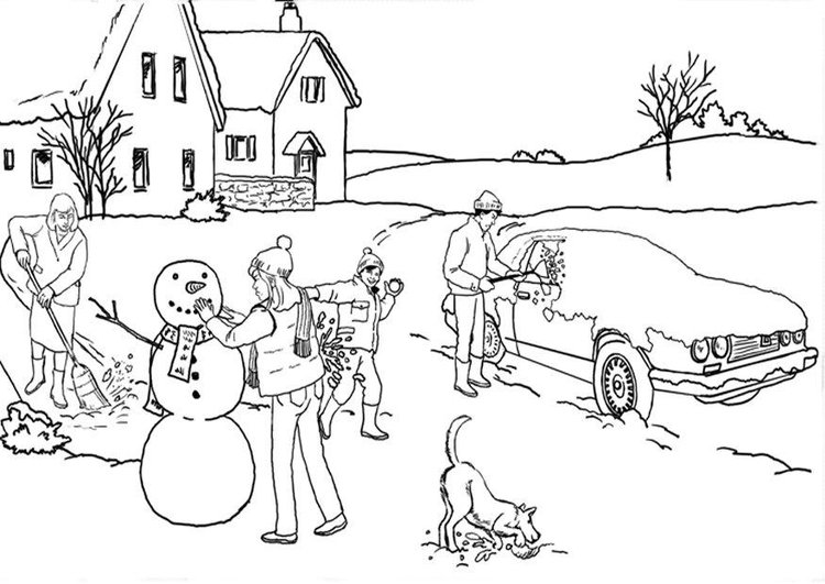 Coloring page winter - snow