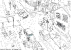 Coloring page winter traffic