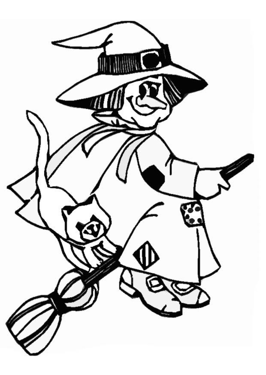 Coloring page witch - img 8617.