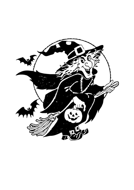 Coloring page witch on a broomstick