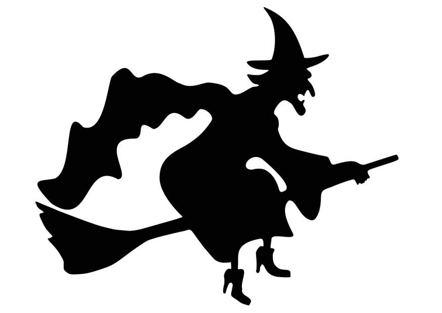 Coloring page witch on broom - img 19722.