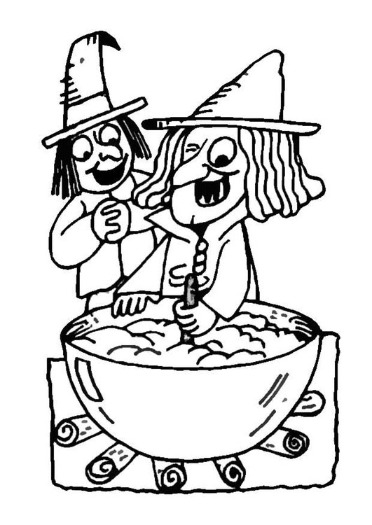 Coloring page witches