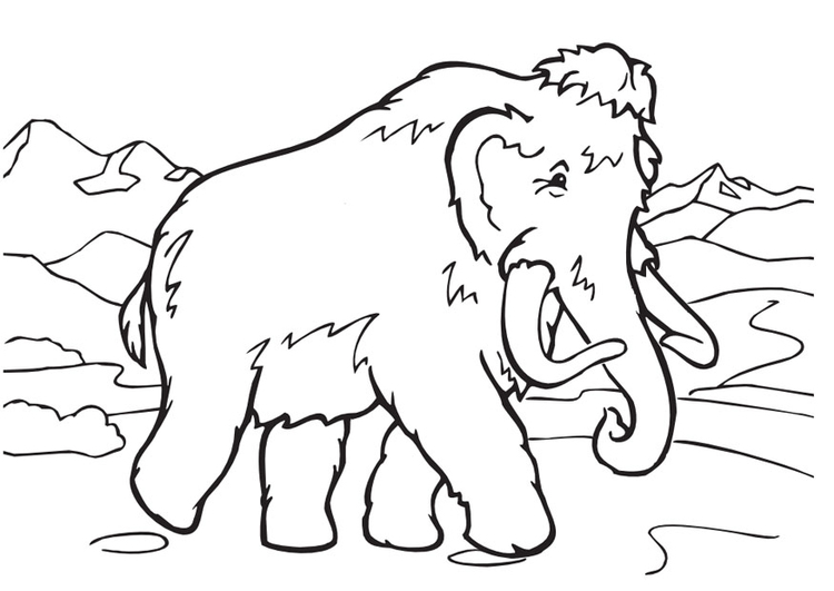 Coloring page wolly mammoth
