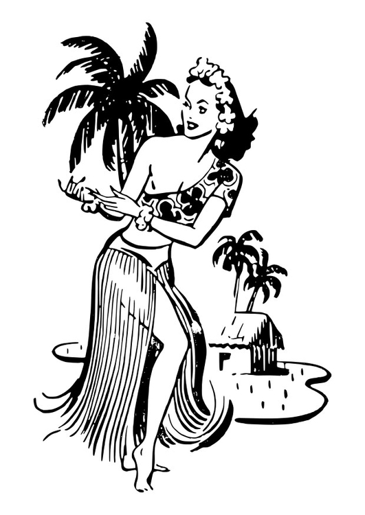Coloring page woman from Hawaii