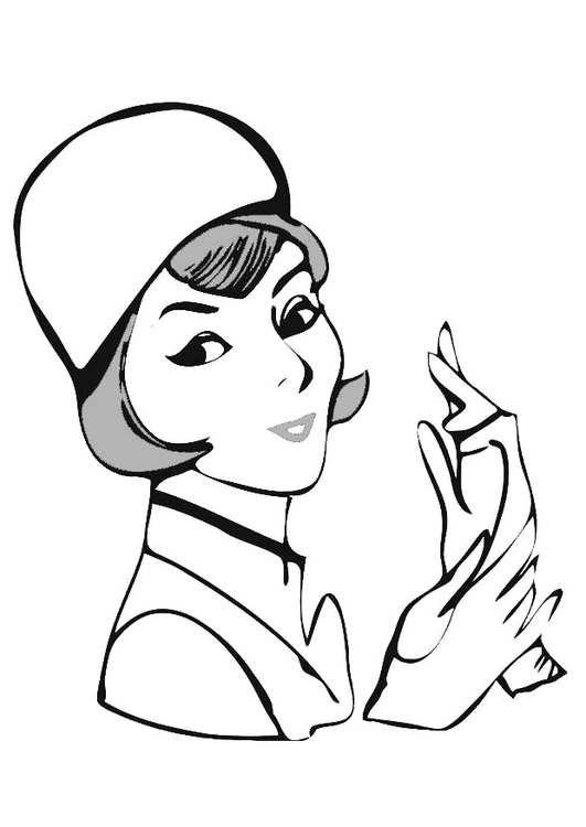 Coloring page woman with gloves