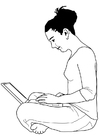 Coloring pages woman working on laptop