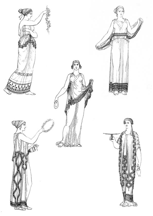 Coloring page Women of ancient Greece