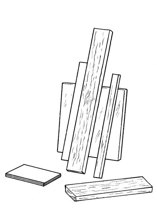 Coloring page wood shelving