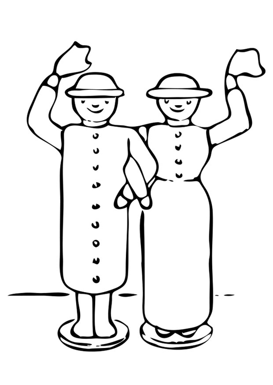 Coloring page wooden dolls