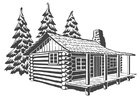 Coloring pages wooden dwelling