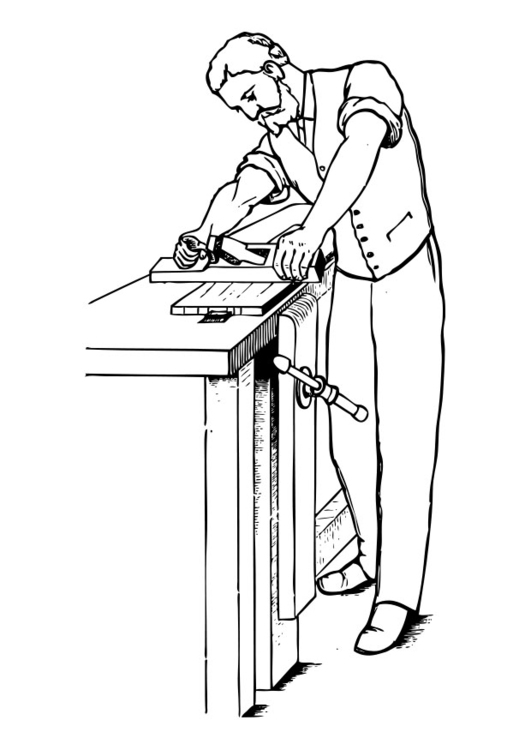 Coloring page woodworker