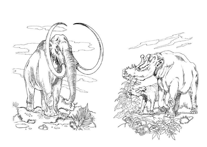 Oertijd Kleurplaat Coloring Page Wooly Mammoth Img 9102