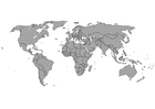 Coloring page World map with borders