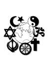 Coloring page world religions