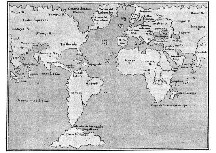 Coloring page worldmap 1548