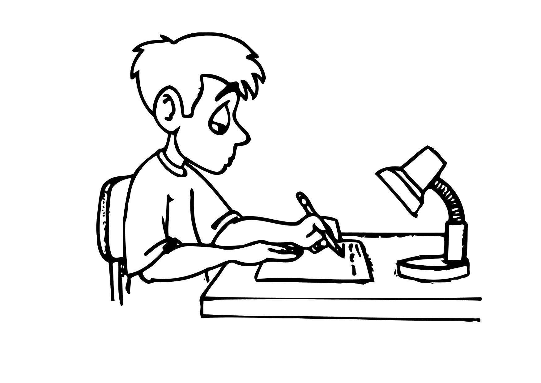 Doing Homework Coloring Page ― Kids do homework in class cartoon ...