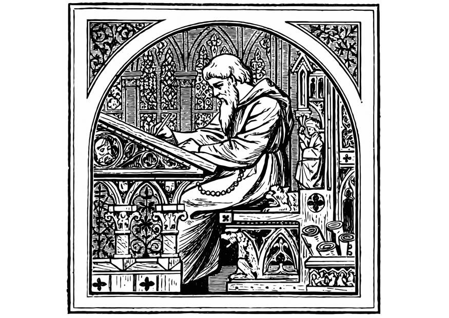 Coloring page writing monk img