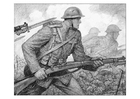 Coloring page WWI scene