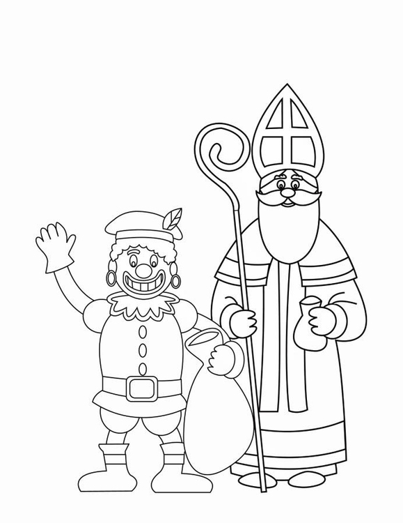 Coloring page Zwarte Piet and St Nicholas 2 img 16170
