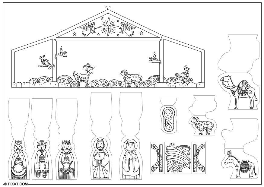 Kleurplaat Figuren Kerststal Crafts Nativity Scene 28197x Arts And Crafts For