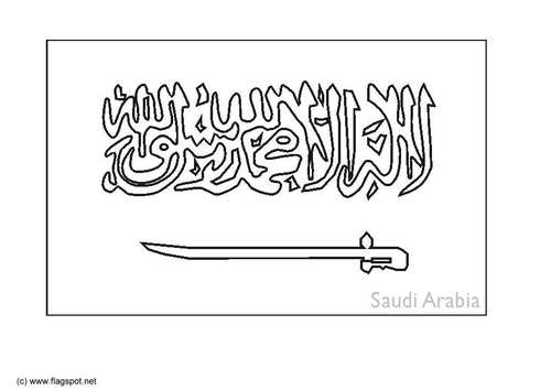 Coloring page flag Saudi Arabia