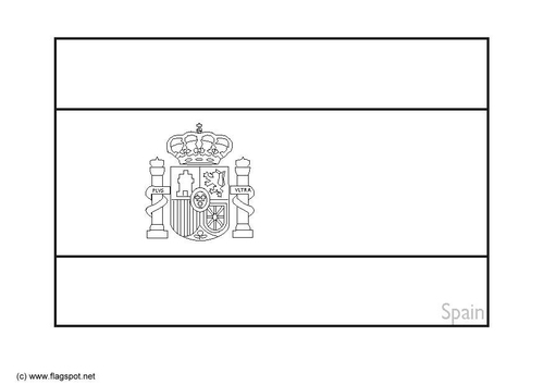 Coloring Page Of Spain Flag Free