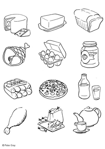 Food Pyramid Coloring Pages (Printable)