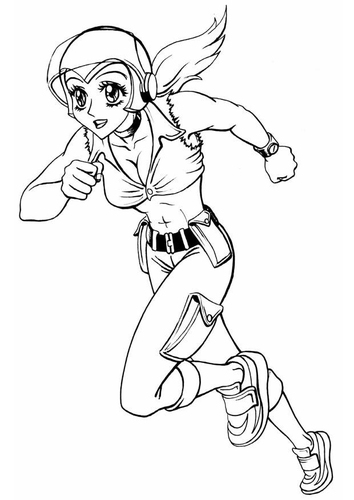 Coloring page girl running