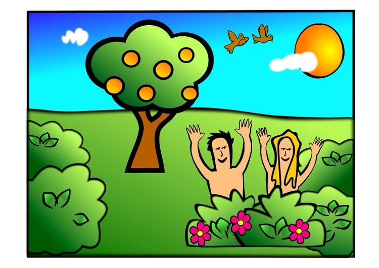 Image Adam and Eve happy