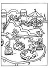 Coloring page amusement park