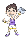 Image boy with letter