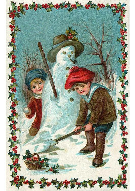 children build a snowman