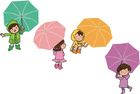 Images children with umbrella