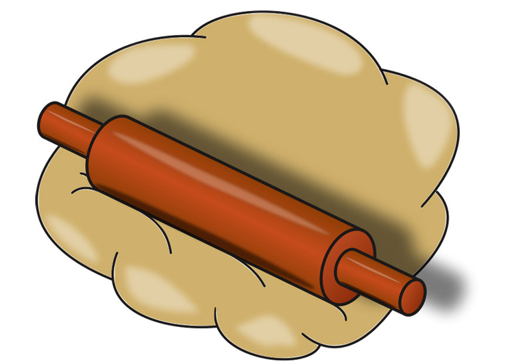 Image dough with rolling pin