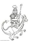 Coloring page dragon slayer