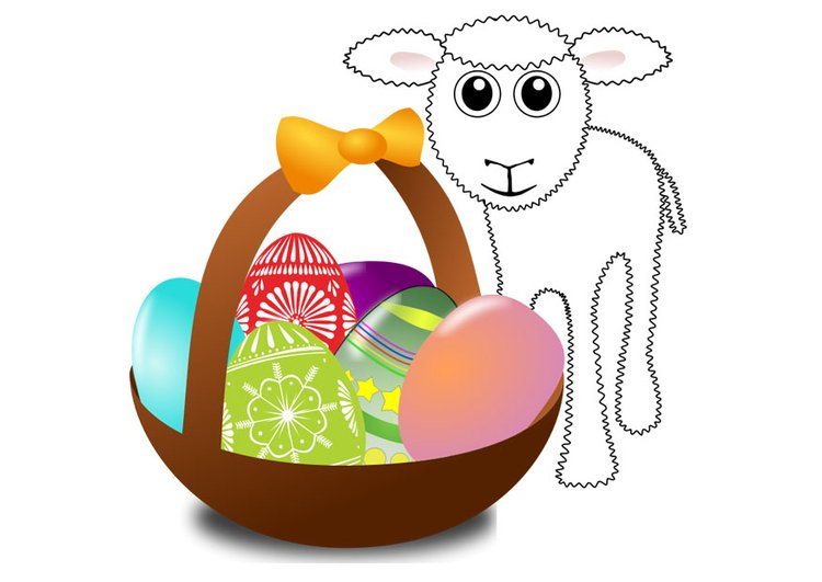 Image easter basket with lamb