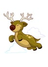 Coloring pages flying reindeer