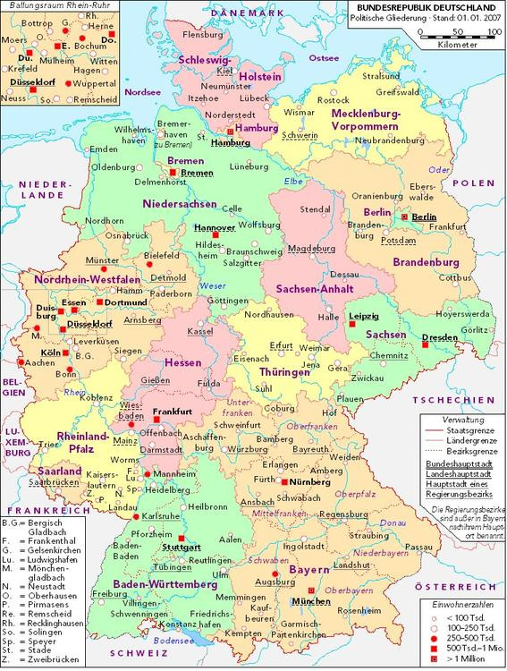Germany - Political Map 2007