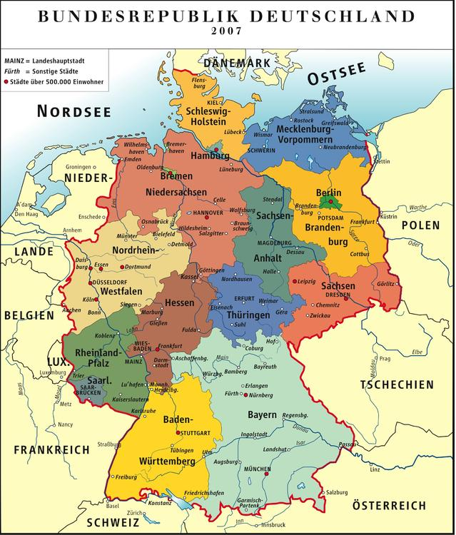 Germany - Political Map FRG 2007