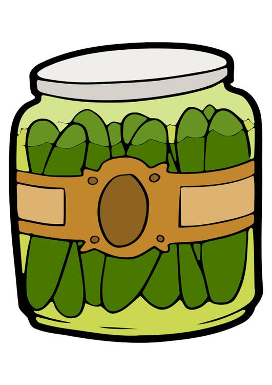 gherkins in jar